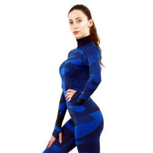 Дамска термо блуза с дълъг ръкав и поло яка цвят тъмносин камуфлаж - снимка 2