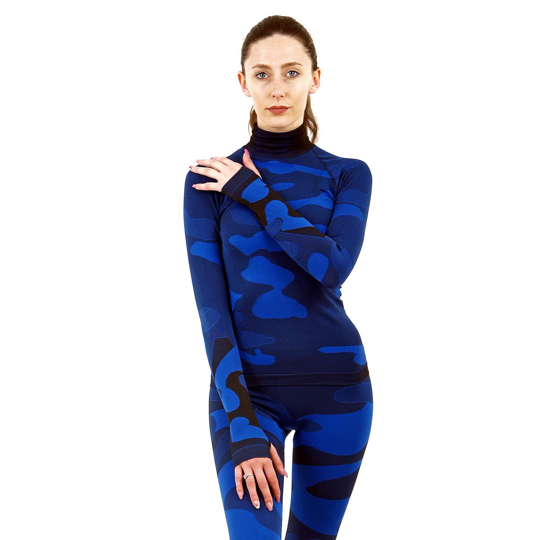 Дамска термо блуза с дълъг ръкав и поло яка марка KSPORT цвят тъмносин камуфлаж - снимка 3