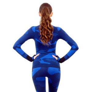 Дамска термо блуза с дълъг ръкав и поло яка марка KSPORT цвят тъмносин камуфлаж - снимка 4