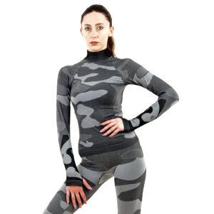 Дамска термо блуза с дълъг ръкав и поло яка цвят сив камуфлаж - снимка 1