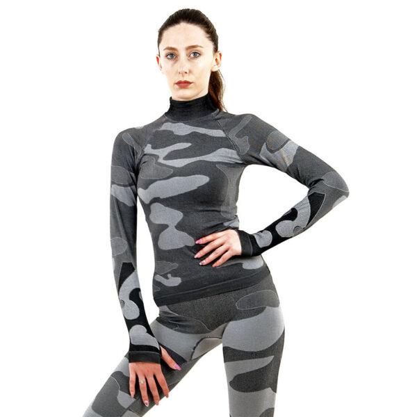 Дамска термо блуза с дълъг ръкав и поло яка марка KSPORT цвят сив камуфлаж - снимка 1