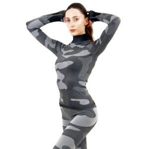 Дамска термо блуза с дълъг ръкав и поло яка цвят сив камуфлаж - снимка 2
