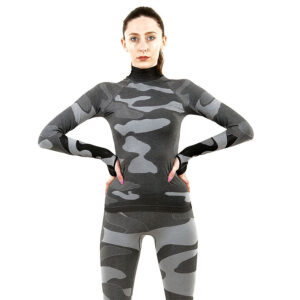 Дамска термо блуза с дълъг ръкав и поло яка марка KSPORT цвят сив камуфлаж - снимка 3
