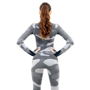 Дамска термо блуза с дълъг ръкав и поло яка марка KSPORT цвят сив камуфлаж - снимка 4