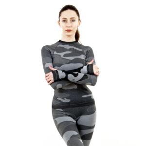 Дамска термо блуза с дълъг ръкав цвят сив камуфлаж - снимка 1