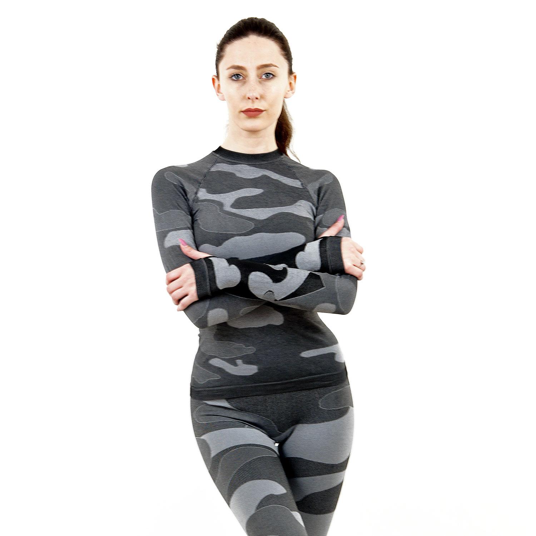 Дамска термо блуза с дълъг ръкав марка KSPORT цвят сив камуфлаж - снимка 1