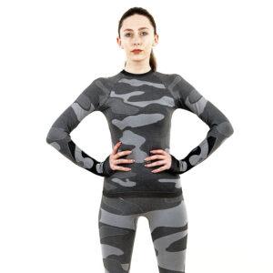 Дамска термо блуза с дълъг ръкав цвят сив камуфлаж - снимка 2