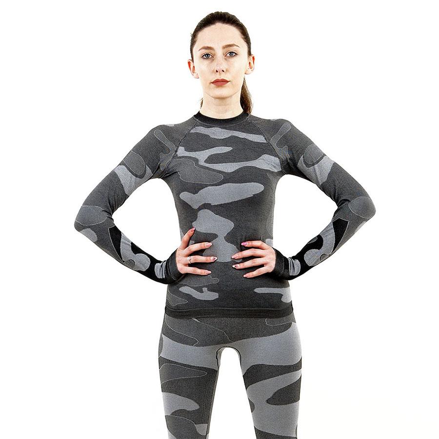Дамска термо блуза с дълъг ръкав марка KSPORT цвят сив камуфлаж - снимка 2
