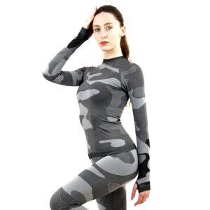 Дамска термо блуза с дълъг ръкав марка KSPORT цвят сив камуфлаж - снимка 3