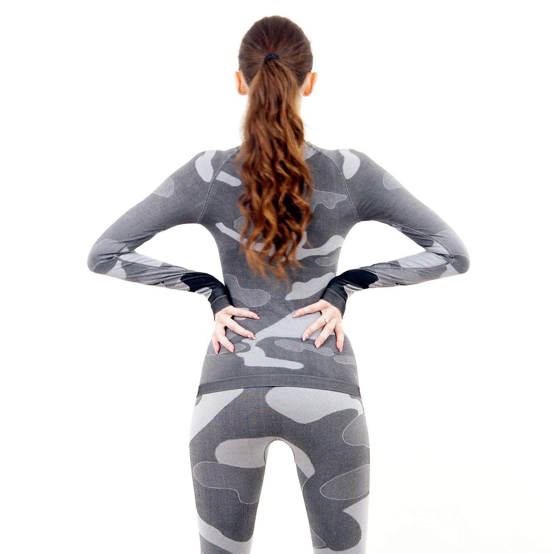 Дамска термо блуза с дълъг ръкав марка KSPORT цвят сив камуфлаж - снимка 4