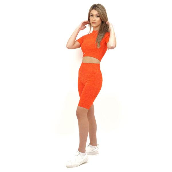 Спортен къс клин дамски KSPORT серия KFLUSH в червен цвят - снимка 2