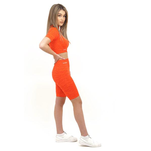 Спортен комплект KSPORT серия KFLUSH бюстие с къс клин дамски в червен цвят - снимка 2