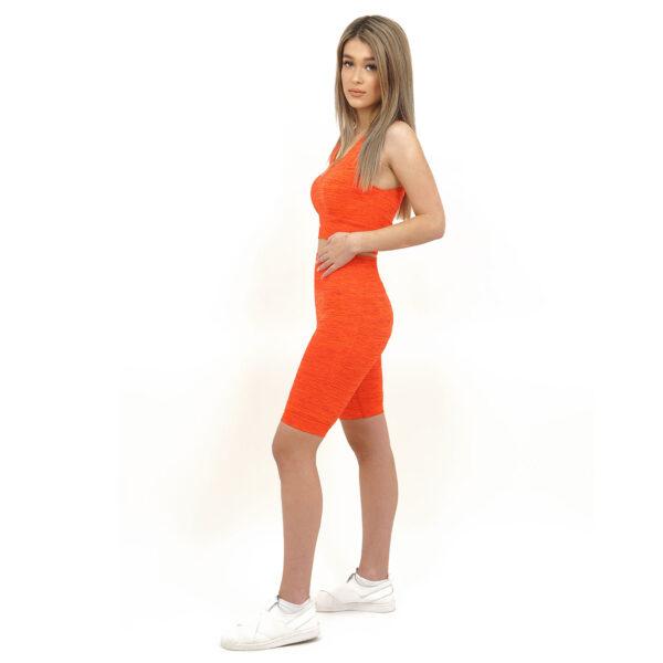 Спортен комплект KSPORT серия KFLUSH бюстие с къс клин дамски в червен цвят - снимка 3