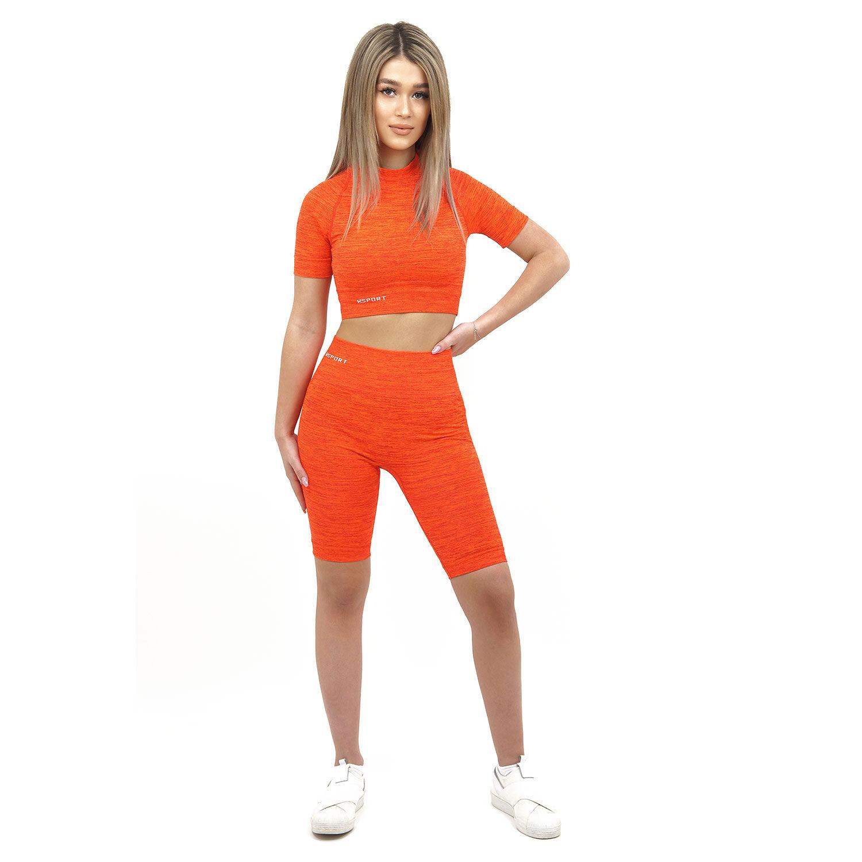 Спортен комплект KSPORT серия KFLUSH бюстие с къс клин дамски в червен цвят - снимка 4