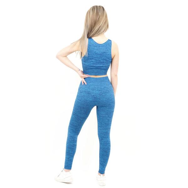 Спортен комплект KSPORT серия KFLUSH бюстие с клин дамски цвят синьо капри - снимка 3