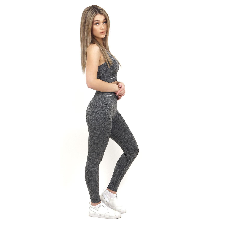 Спортен комплект KSPORT серия KFLUSH бюстие с клин дамски цвят сив меланж - снимка 2