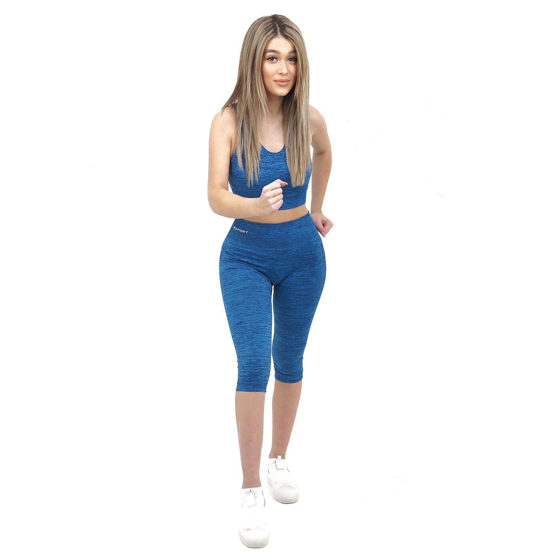 Спортен комплект KSPORT серия KFLUSH бюстие с къс клин дамски цвят син капри меланж - снимка 3