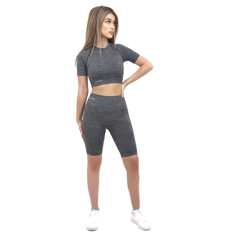 Спортен комплект KSPORT серия KFLUSH бюстие с къс клин дамски цвят сив меланж - снимка 3