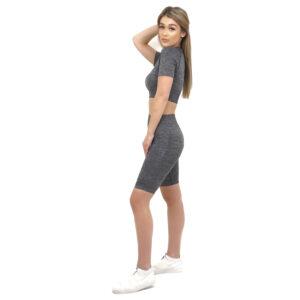 Спортен комплект KSPORT серия KFLUSH бюстие с къс клин дамски цвят сив меланж - снимка 4