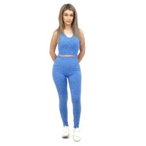 Спортен комплект KSPORT серия KFLUSH бюстие с клин дамски в син цвят - снимка 1