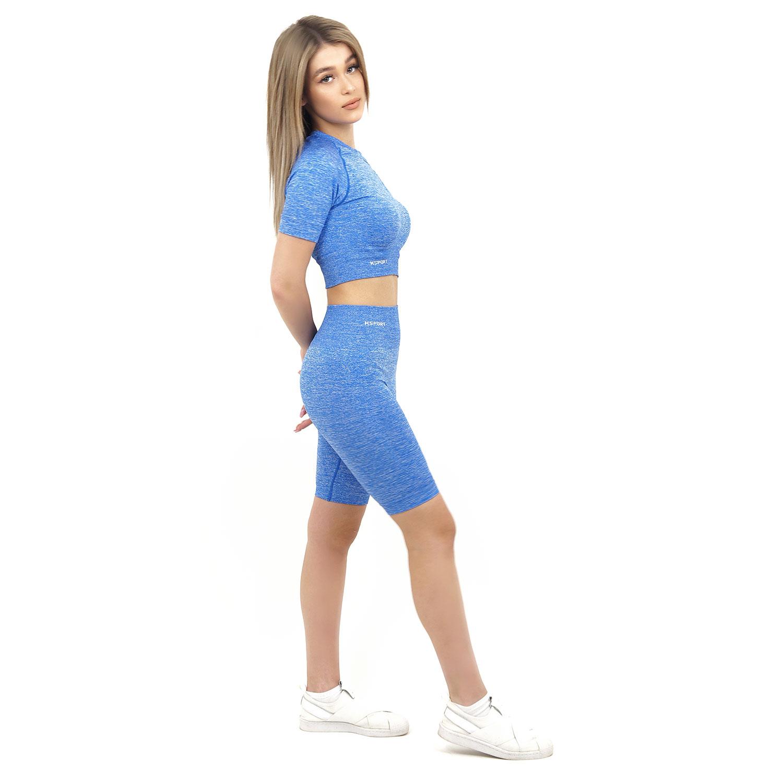Спортен къс клин дамски KSPORT серия KFLUSH цвят син меланж - снимка 2