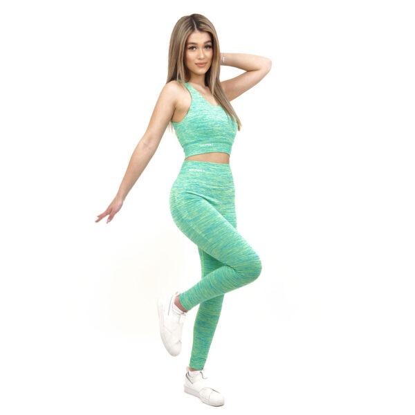 Спортен комплект KSPORT серия KFLUSH бюстие с клин дамски в зелен цвят - снимка 1