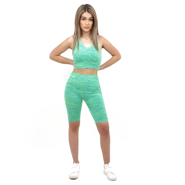 Спортен комплект KSPORT серия KFLUSH бюстие с къс клин дамски в зелен цвят - снимка 1