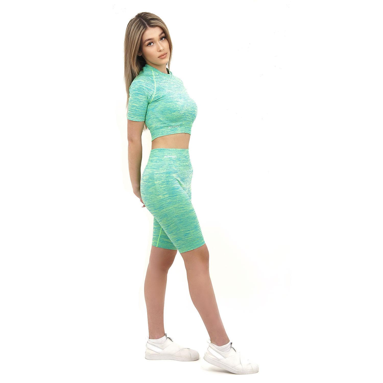 Спортен комплект KSPORT серия KFLUSH бюстие с къс клин дамски в зелен цвят - снимка 2
