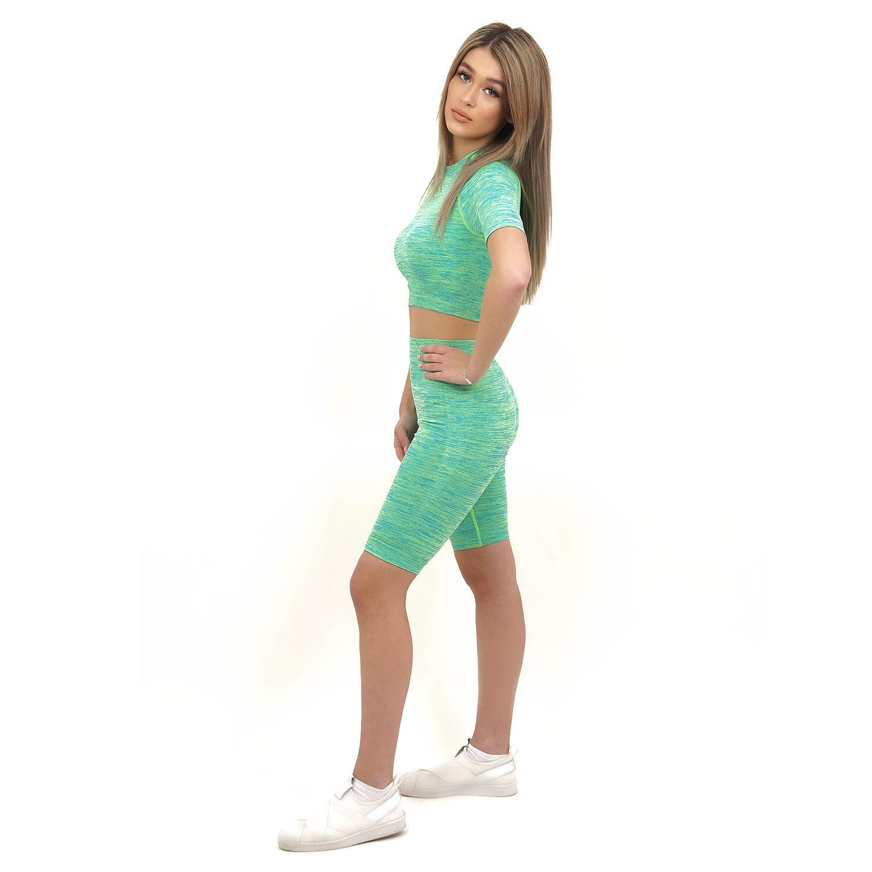 Спортен комплект KSPORT серия KFLUSH бюстие с къс клин дамски в зелен цвят - снимка 3