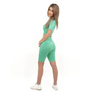 Спортен комплект KSPORT серия KFLUSH бюстие с къс клин дамски в зелен цвят - снимка 4